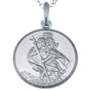 "Sterling Silver St Christopher Pendant with 18"" Chain - 18mm"