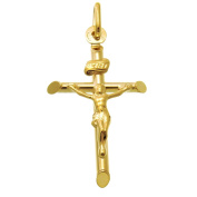9ct Gold Crucifix Cross Pendant With Jewellery Gift Box