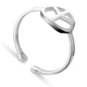 TinySand 925 Sterling Silver Unique Design Peace Sign Cuff Ring, Silver