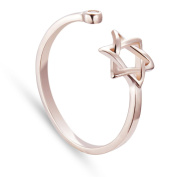 TinySand Rose Gold Plated 925 Sterling Silver Cubic Zirconia Hexagram Shape Cuff Ring