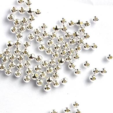 100pcs Genuine 925 Sterling Silver Round Ball Beads for Jewellery Making Findings (2.5mm)