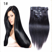 50cm - 60cm Clip in Hair Extensions 100% Real Human Hair Double Weft Thick to Ends Jet Black(#1) 7pieces 70grams70ml