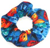 Halloween Pumpkins Bats RIP Blue Fabric Hair Scrunchie Scrunchies by Sherry