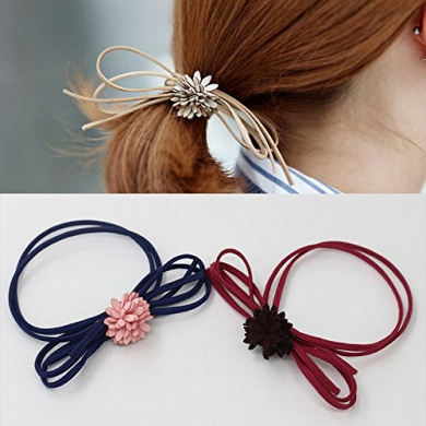 Fashion Women's Butterfly Flower Hair Rings Rope Rubber Band Ponytail Holder (5PCS)