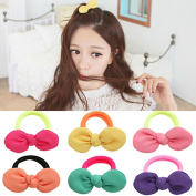 Bowknot Hair Rope Ponytail Kids Holder Elastic Hair Ties 9 Pairs for Girl's,Hanmei