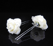 Camellia Flower and Pearl Hair Pins - Set of 4