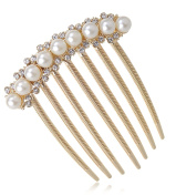 French Twist Comb with Pearls Alloy Decorative Hair Side Combs for Women