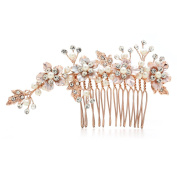 Mariell Handmade Brushed Rose Gold and Ivory Pearl Wedding Comb - Crystal Jewelled Bridal Hair Accessory