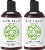 Laritelle Organic Travel Size Shampoo 60ml + Travel Size Conditioner 60ml   Organic Quinoa + Keratin + Follicle Stimulating Rosemary, Ginger & Grapefruit   NO GMO. Vegan