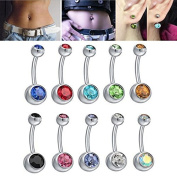 Gopsire 10 Pcs Body Belly Rings Stainless Steel Assorted Colours Pack Created with Crystals Jewellery Piercing