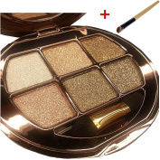 NandaBeauty Women's Fashion Oval 6 Colours Makeup Glitter Eyeshadow Palette with Gift