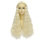Free Hair Cap+ Game of Thrones Daenerys Targaryen/khaleesi Barbarian Bride Costume Beige Braids Long Wavy Hair High Quality Cosplay Wig