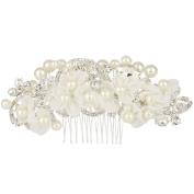 EVER FAITH® Wedding Lace Flower Clear Crystal Ivory-colour Simulated Pearl Hair Comb