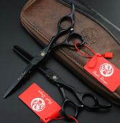 Purple Dragon 14cm Black Painting Hair Cutting & Thinning Scissors Salon Professional Hairdressing Tools Kit