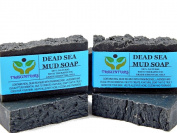 Dead Sea Mud Soap Bar Made With Frankincense Lavender & Eucalyptus Essential Oils 100% Natural Contains Activated Charcoal Use on Face or Body to Help With Acne Psoriasis Eczema