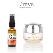 L'reve Anti Ageing Vitamin C Complex Cream + Collagen Boosting Anti-Ageing Vitamin C30X Facial Serum SET with Retinol