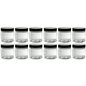 120ml Clear Plastic PET (BPA Free) Travel Jar with Black Smooth Lid- (12 Pack) + Spatulas and Labels