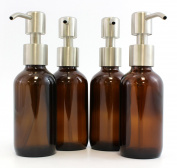 Amber Brown 120ml Glass Bottles with Stainless Steel Pump Nozzles (4 Pack); Empty Boston Round Bottles Ideal for Lotion & Liquid Soap