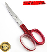 NEW ! Professional Deep Red Curved Nail Scissors Extra Strong Cuticle Scissors, 8.9cm Stainless Steel Manicure/Pedicure Scissors with Bonus PVC Zip Storage Bag