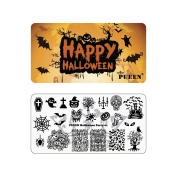 PUEEN Nail Art Stamping Plate - Halloween Party 01 - Theme Park Collection 125x65mm Unique Nailart Polish Stamping Manicure Image Plates Accessories Kit - BH000725