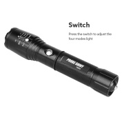 Sandistore X800 Zoomable XML T6 LED Tactical Flashlight+18650 Battery+Charger+Case
