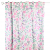 Pink and Mint Floral Window Drapery Panels - Set of Two 210cm by 110cm Panels