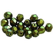CZECH GLASS BEADS 4mm ROUND FACETED METALLIC GREEN CARMON 100pc