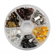 Beadthoven 1Box 1Box 120PCS 6 Colours Iron Clamps Crimp Ribbon Ends, Leather End, Suede End, Mixed Colour, 10x7x5mm, Hole