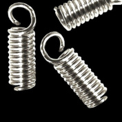 Cord End Coil Connector Tips 12x3mm with Loop 24pk
