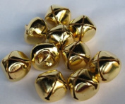 """LOT of 25 Pcs Small Craft Bells Shiny GOLD Tone Jingle BELLS, 25mm (1"""") Metal Craft Holiday Bells Charms Decorations Sewing Supplies Craft Designs, Christmas Tree Accessory"""