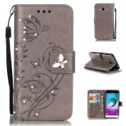J3 Case, Express Prime Case, ARSUE Premium Vintage Emboss Butterfly Flower PU Leather Wallet Case with Card Slots & Stand Flip Cover for Samsung Galaxy J3 / Express Prime / Amp Prime