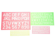 Bilipala Plastic Letter Stencils, Lettering Number Stencils Set, Set of 4, Assorted Colour