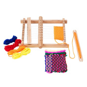 PandaHall Elite 1 Set Wood Knitting Weaving Looms with Yarns Warp Adjusting Rods Combs and Shuttles Include Detailed Instructions