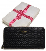 Kate Spade Penn Place Embossed Neda Clutch Wallet WLRU2517 Black with Bagity Gift Box