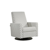 Dutailier ULTRAMOTION Minho Upholstered Glider Recline, Swivel with Built-in Footrest, Geometric Grey/Cream