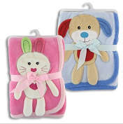 Animal Fleece Baby Blanket / blue (puppy), pink (bunny)