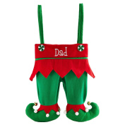 """Elf Pants Stocking - Red Solid - Measures 28cm Wx 14-1.3cm Lx 2""""D"""