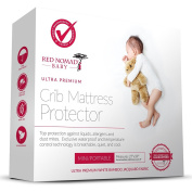 Red Nomad Crib Pad Mattress Protector - Ultra Soft Bamboo Fabric Waterproof Hypoallergenic Cover - Fits All Mini Portable Crib Sizes Including Pack N Play