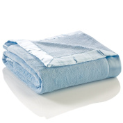 Elegant Baby Ultra Plush Blanket, Satin Border Blanket 90cm x 110cm in Baby Blue