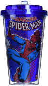 Silver Buffalo MC2084 Marvel Spiderman Action BPA-Free Plastic Flip Straw Cold Cup, 470ml, Blue