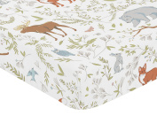 Fitted Crib Sheet for Woodland Toile Baby/Toddler Girl or Boy Bedding Set Collection - Animal Print