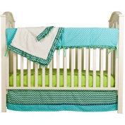 Pam Grace Creations Simply ZigZag 4-Piece Crib Bedding Set/Size:Crib/Toddler Bed/Blue