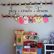 Play Create Dream Children's Nursery Wall Quote 70cm W by 18cm H, Wall Decals, Playroom Childrens Decor Wall Decal, Kids Playroom Decal Vinyl Lettering, Wall Art, U28 PLUS FREE WHITE HELLO DOOR DECAL