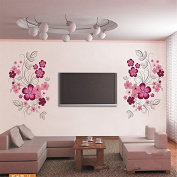 DIY Large Pink Flowers Branch Wall Sticker PVC Mural Removable Decal Home Decor