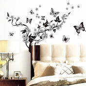 Removable Black Flower Tree DIY 3D Decal Wall Stickers Repetitive Home Decor