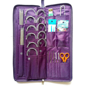 MAYMII 104 Pcs Knitting Kit Stainless Steel Knit Needles Straight+circular Needles+crochet Hook Needlework Hand Tool with Pu Bag