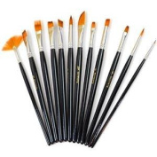 Paint Brush Set, FrontTech Round Pointed Tip Nylon Hair artist acrylic brush Watercolour Oil Painting