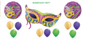 12pc MARDI GRAS BALLOON set PARTY new ORLEANS parade MASK 3 foils 9 latex