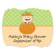 Custom Little Pumpkin Caucasian - Personalised Squiggle Party Sticker Labels