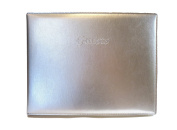 "Padded Italian Leather Guest Book with ""Guests"" Embossed on Cover - Silver"